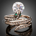 Jenia High Quality AAA Stellux Austrian Crystal Snake Ring Rose Gold Plated Jewelry for Men and Women PR006