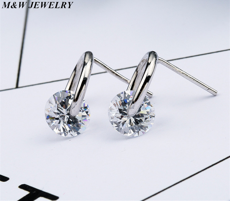 M&W JEWELRY Hot Sale 925 Sterling Silver Earrings Clear CZ Forever Circle Round Stud Earrings for Women Sterling Fine Jewelry