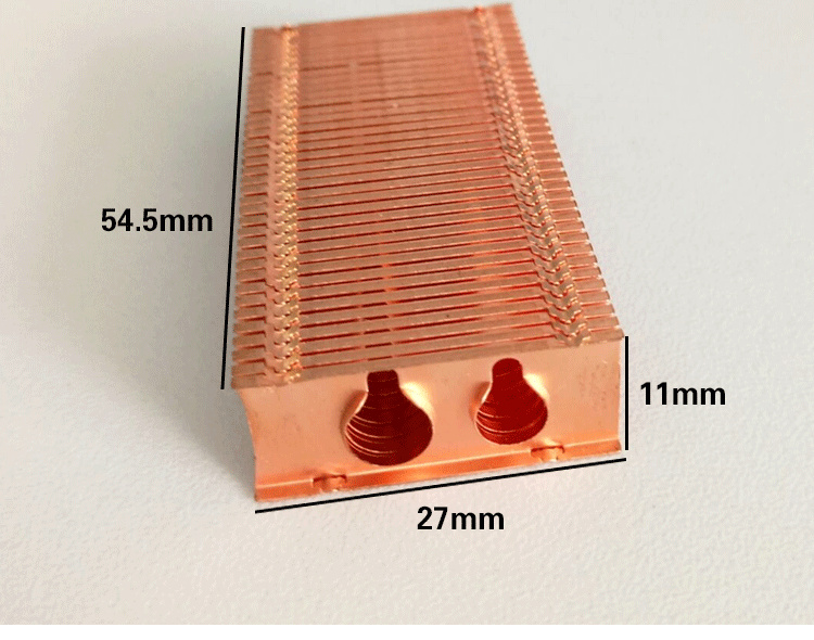 Custom Pure copper cooling fin radiator-fan fin 27*54.5*11mm DIY Heat Sink cooling fin cooler pure copper heatsink 80x80x20mm skiving fin heat sink radiator for electronic chip led power amplifier cooling cooler