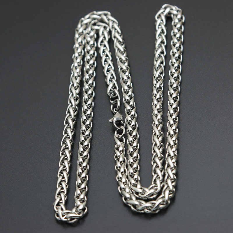 Moda naszyjnik łańcuch stal nierdzewna 316L 2.5mm 3mm 4mm 5mm latarnie naszyjnik łańcuch dla kobiet mężczyzn wisiorek medalion