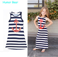 Humor Bear kids dress summer style Stripe Paillette girl dress children clothing Navy wind Anchors baby girl dress