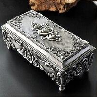 خمر صندوق مجوهرات حالة الأزياء والمجوهرات حلية مربع الزنك والسبائك المعدنية منحوتة زهرة روز شكل مربع