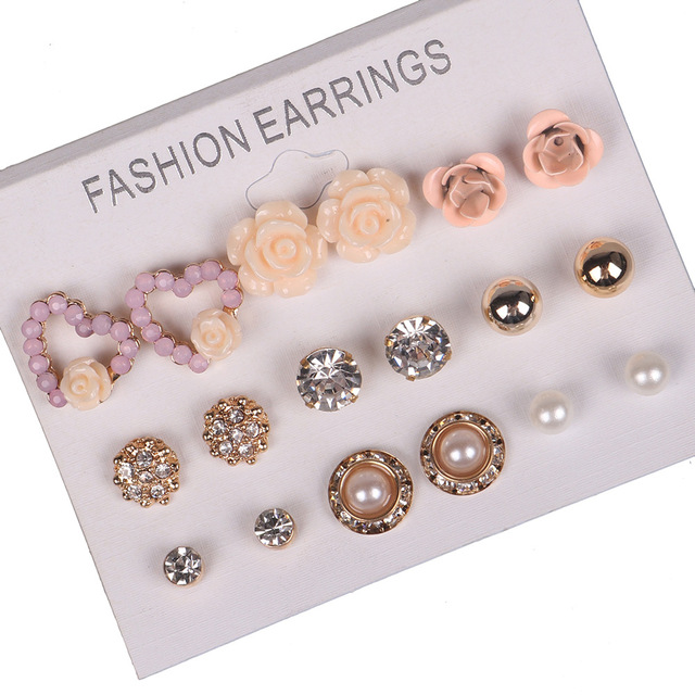 New Style Rhinestone Heart Stud Earring Set For Women Hot-selling Cute  Flower Mixed Imitation Pearl Earring Sets 9 Pairs lot bc54a6513