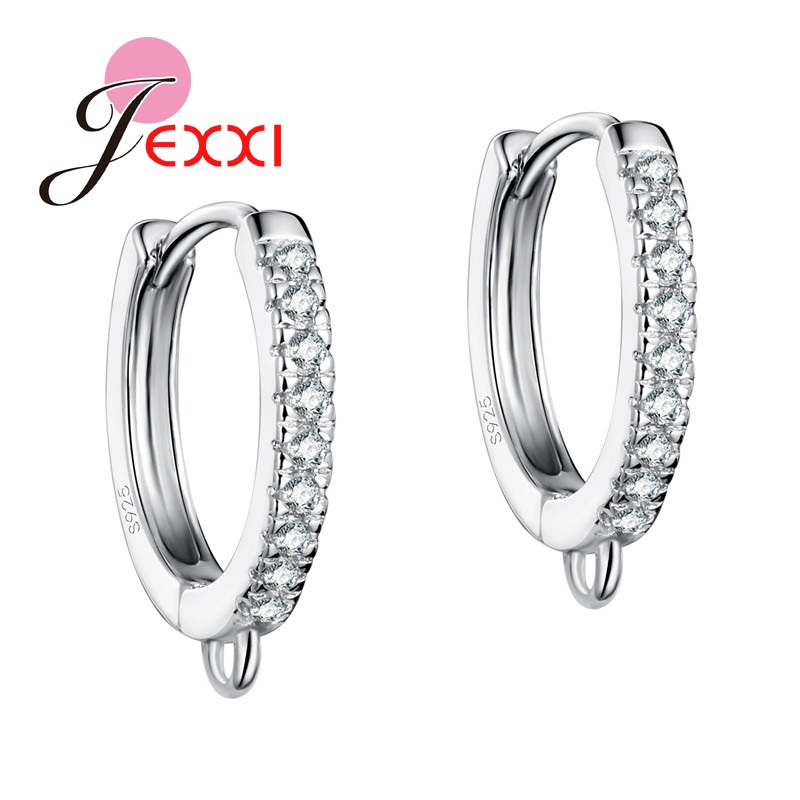 JEXXI Wholesale Brand New Fashion CZ Crystal Jewelry DIY Making Sterling Silver Hoop Earring Components Accessories