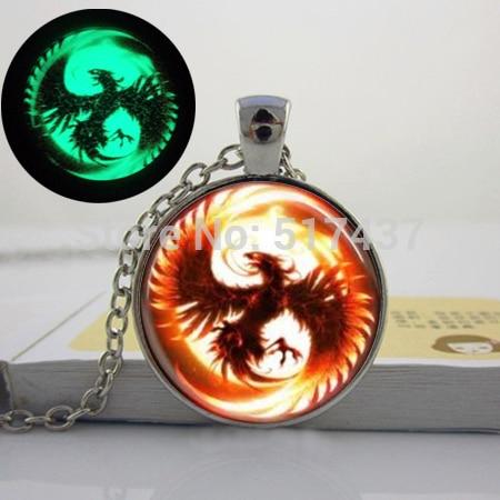 2015 New Fashion Glowing Jewelry, Phoenix Mythical fire bird jewelry Glass Dome Necklace. glow in the dark necklace