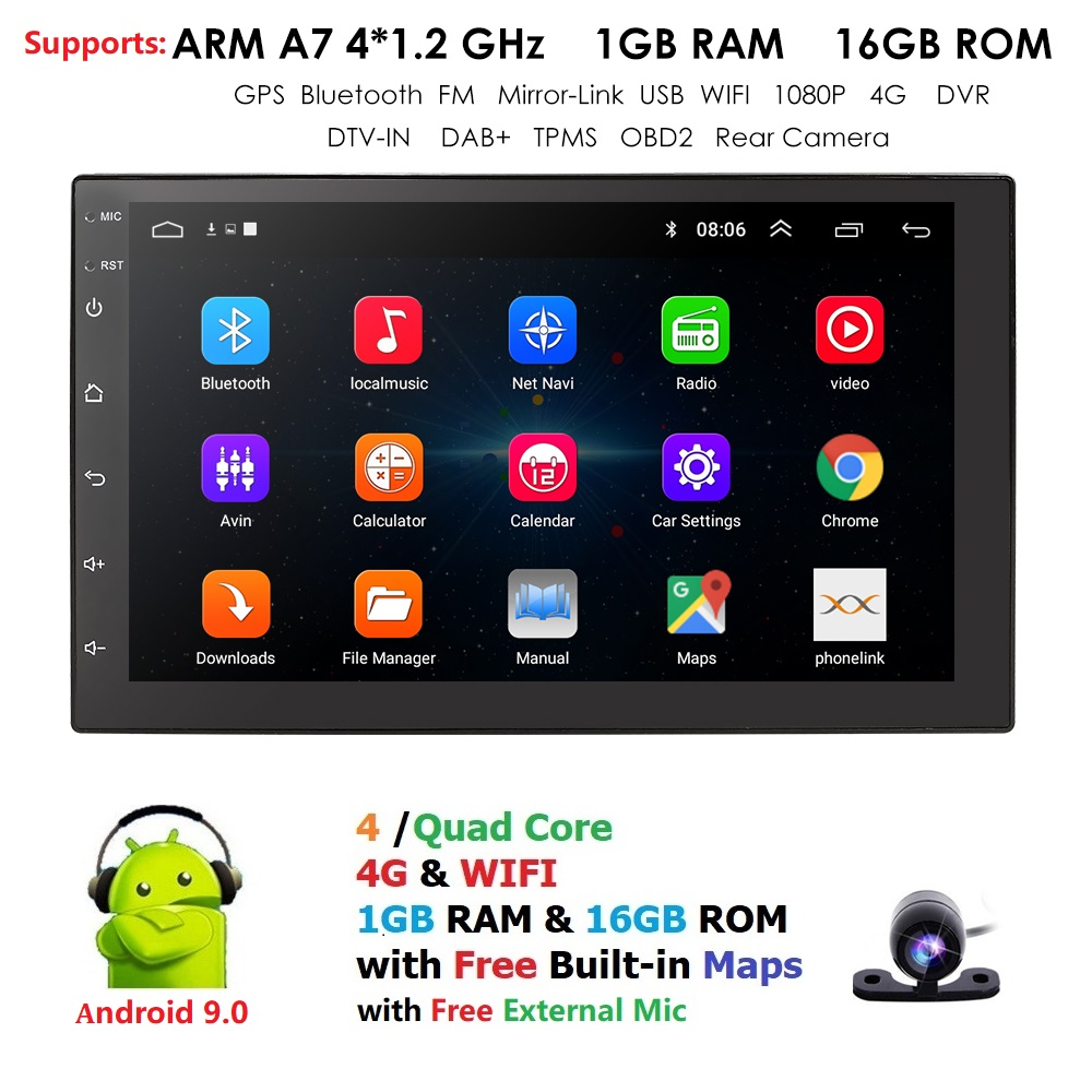 Android 9.0 2 Din Car radio Multimedia Video Player Universal auto Stereo GPS MAP For Volkswagen Nissan Hyundai Kia toyota CR-V image
