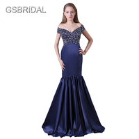 GSBRIDAL Off The Shoulder With Short Sleeves Sweetheart Top Beading Blue Mermaid Celebrity Dress