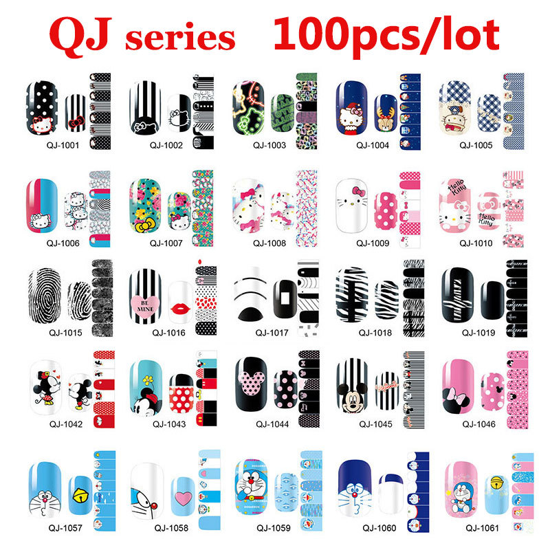 100pcs Cute Cartoon Nail Art Decal Wraps Stickers Adhesive Full Cover Polish Foils Decoration Wholesale dad mom daugther son and pet dog funny car stickers family cartoon vinyl adhesive auto decal stickers