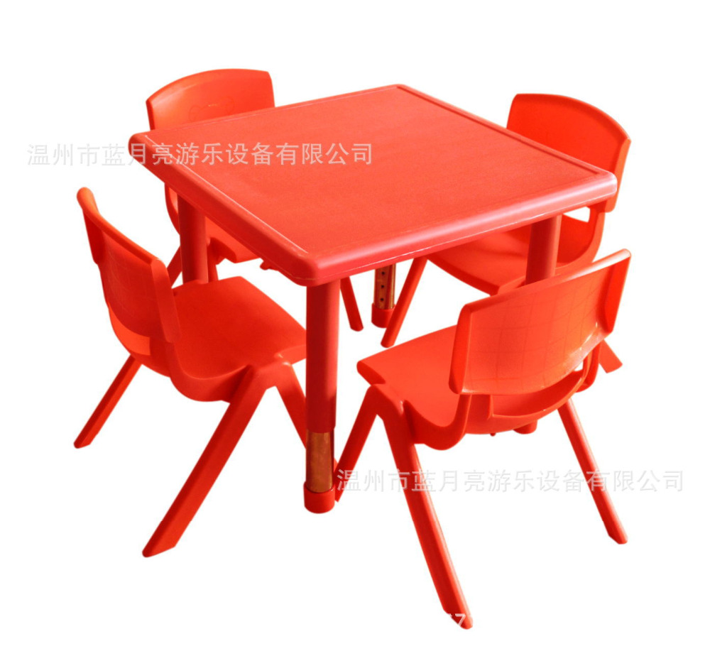 60X60cm High Quality Adjustable Height Square Children Tables Kindergarten Desk With Chairs