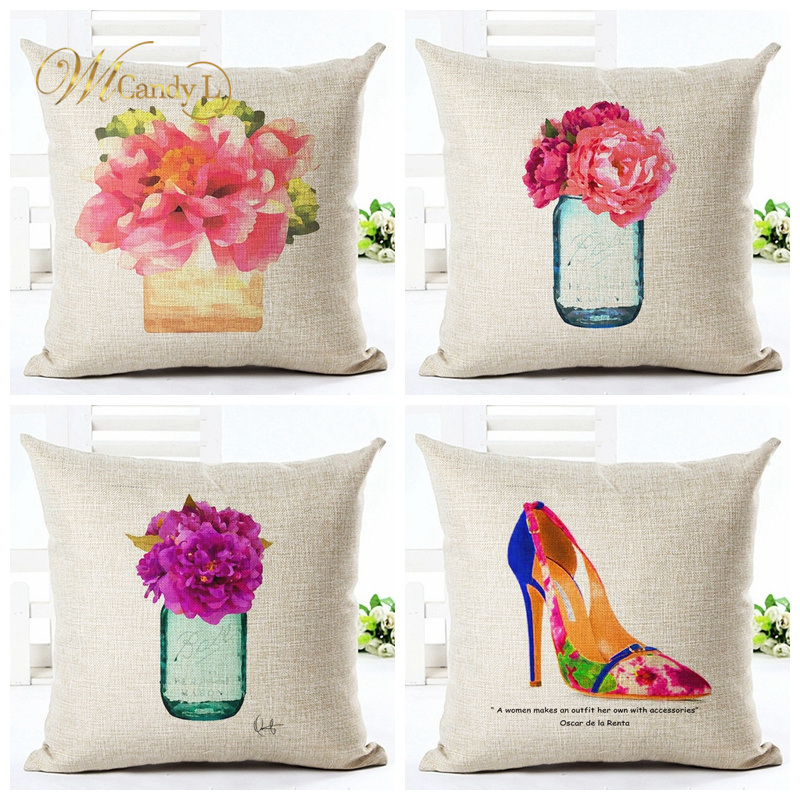 WL Candy L Cartoon Flower Bottle High heels Pattern Cushion Covers Car Sofa Decor Home Decorative Linen 45*45 cm Pillow Covers