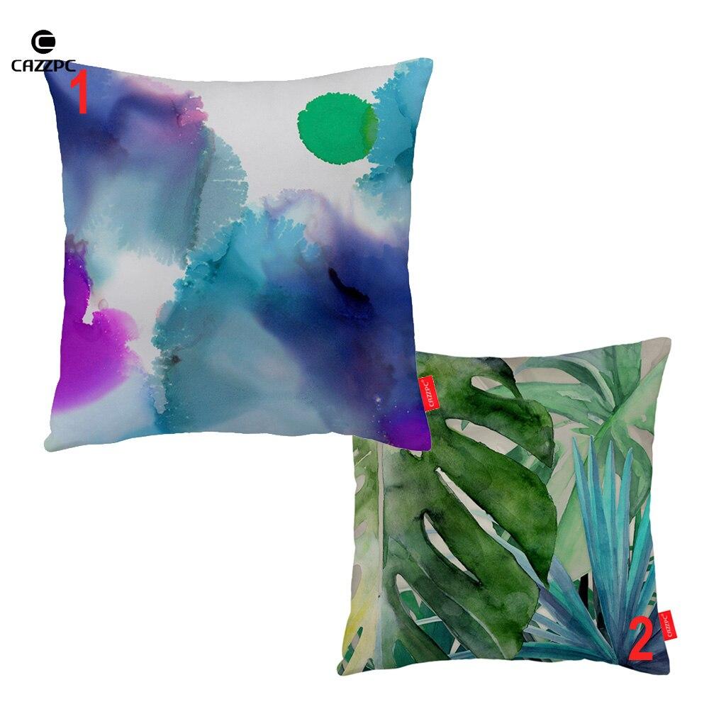 Abstract Watercolor Monsoon Palm Tree Leaf Print Decorative Pillowcase  Cushion Covers Sofa Chair Home Decor
