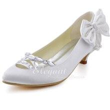 New Fashion Design Woman Pumps EP2088 Sweet Close Toe Rhinestone Cutout Bow Pearl Cone Heel Satin Wedding Shoes
