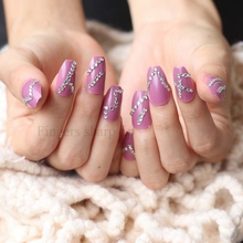 The latest fake nails full nail ballerina 24 designs of crystal diamondsSexy purple W14
