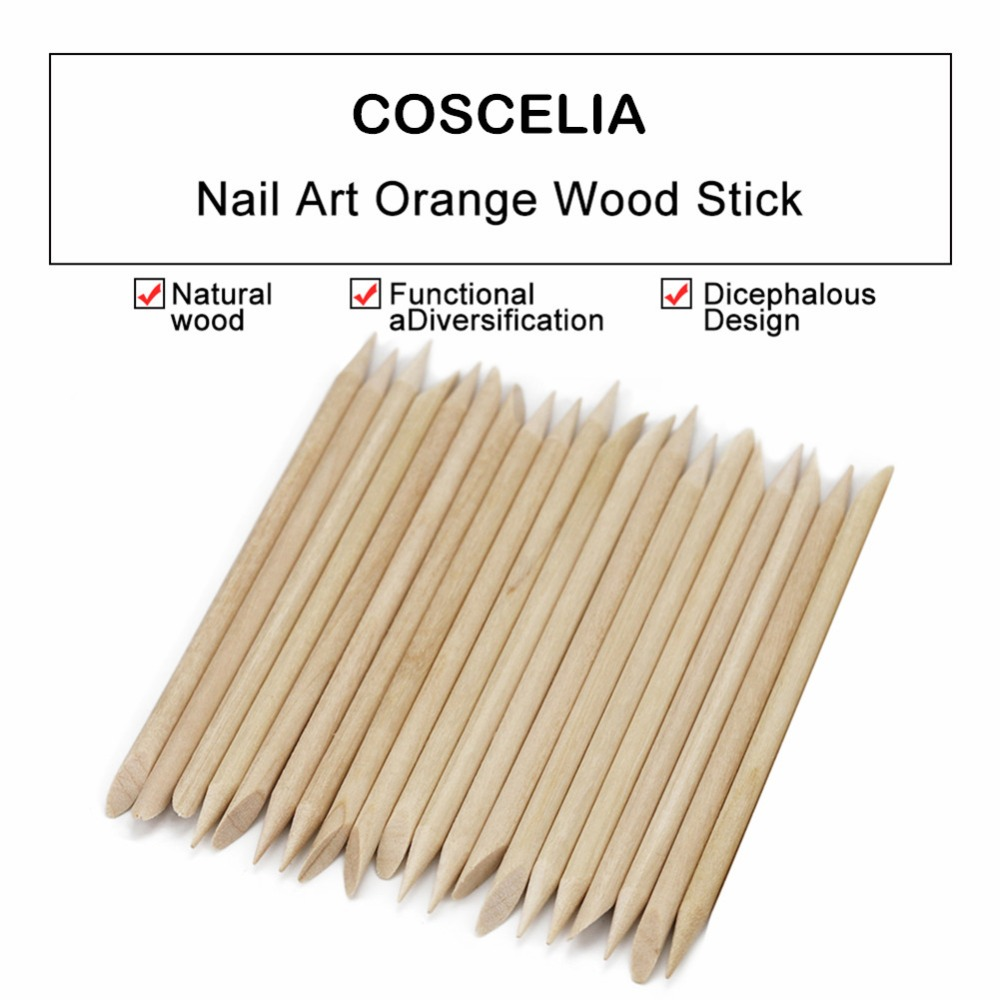 20 pcs Wooden Cuticle Pusher Nail Art Cuticle Remover Orange Wood Sticks For Cuticle Removal Manicure Nail Art Tools