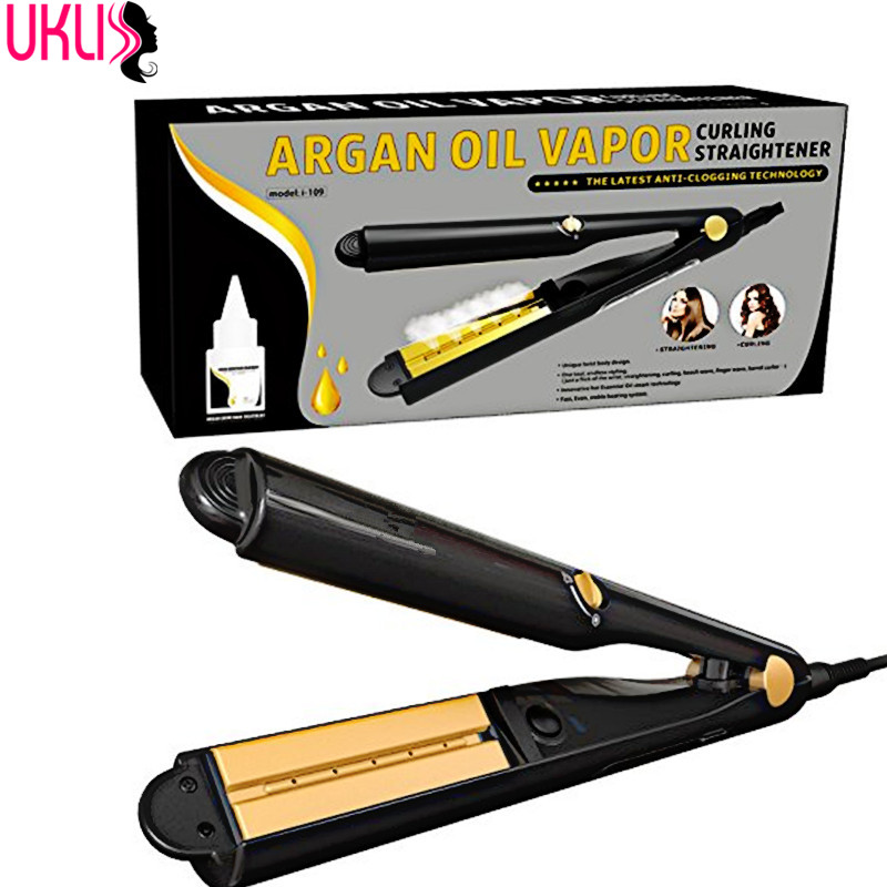 HOTSALE STEAM HAIR font b STRAIGHTENING b font BRUSH with Argan Oil Infusion Steam Flat Iron