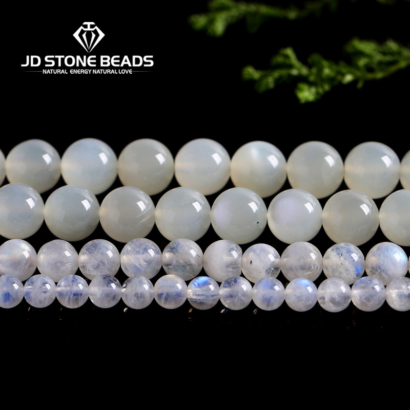 Blue Moonstone Size 4/6/7/8//9/10/12/14MM High Quality Natural White Moonstone Beads Personalized Fashion Hand-made Fine Jewelry