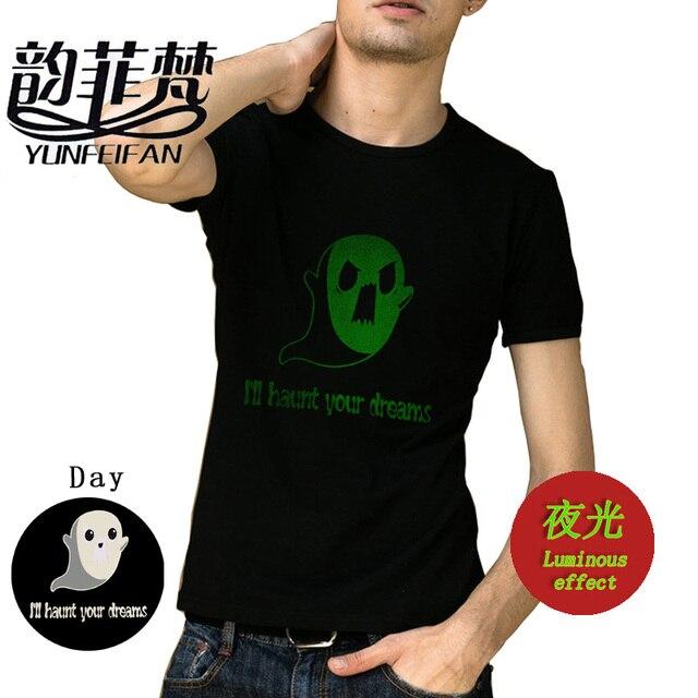 cute ghost ghost halloween print women dark glow t shirt cotton casual funny shirt for black