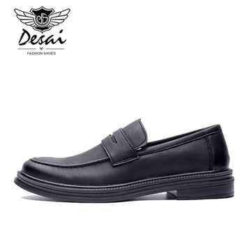 DESAI Fashion Spring Summer Men Casual Shoes Slip On Moccasins Men Loafers Pu Leather Shoes Black Flats Male Chaussure Homme