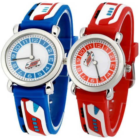PENGNATATE Children 3D Cartoon Watch Fashion Blue Train Waterproof Strap Kids Silicone Watches Students Boys Bracelet Wristwatch Lahore