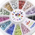 3 мм Ногтей Украшения Наклейки Водослива Горный Хрусталь 12 Цветов DIY Типсы Колесо 4BUJ