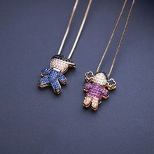 New gift MW Love Boy Girl Pendant Necklace Family Necklaces cubic zirconia necklace Women Gift NWX001662