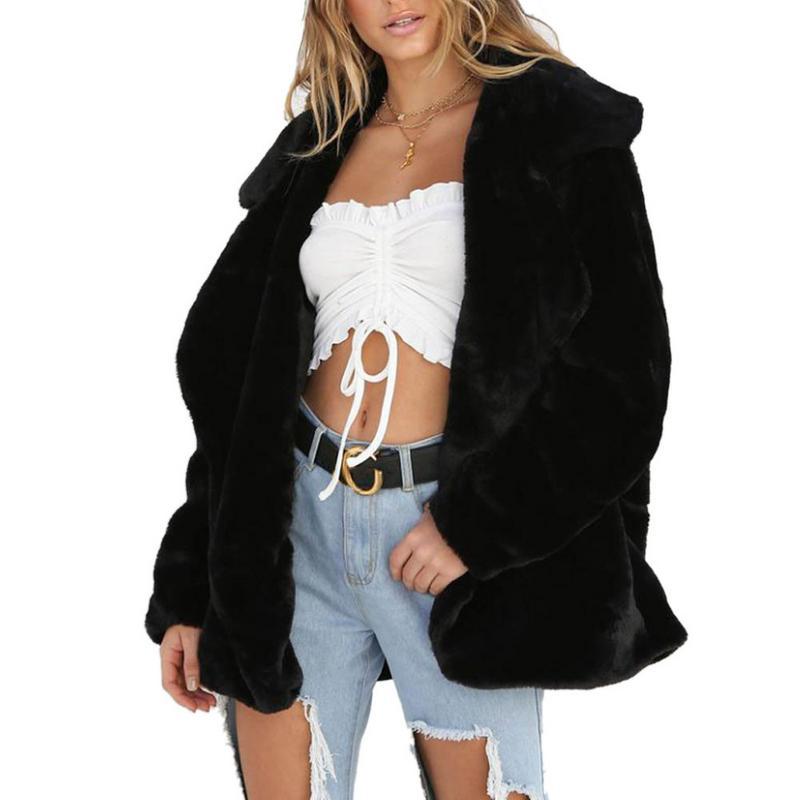 2018 Fashion New Lapel Sweatshirt Fleece Fur Coat 2018 Women Autumn Winter Warm Soft Thick Plush Overcoat Short Outerwear S-XL