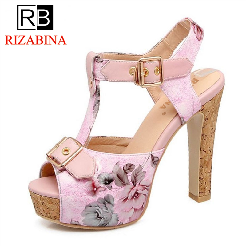 RizaBina Plus Size 32-46 Customized Peep Toe Buckle Summer Sandals Women Shoes Fashion Flower Printing Party Footwear Shoes