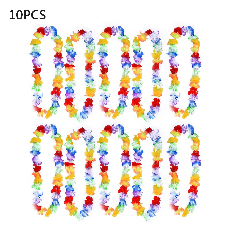 10pcs/set Hawaiian Flower Leis Garland Necklace Fancy Dress Party Hawaii Beach Flowers Party Beach Decoration For Summer