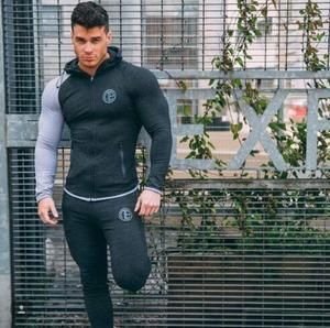 Image 4 - 2019 gimnasios nuevo chándal pantalones de hombre conjuntos de sudadera de moda trajes de sudor marca heren Kling casual fitness prendas de vestir jogger set