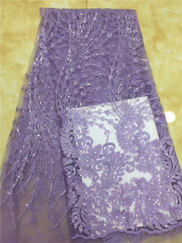 NEW Beautiful Nigerian Lace Fabric Purple Sequins Embroidered French Tulle Lace Latest African Lace Fabric High