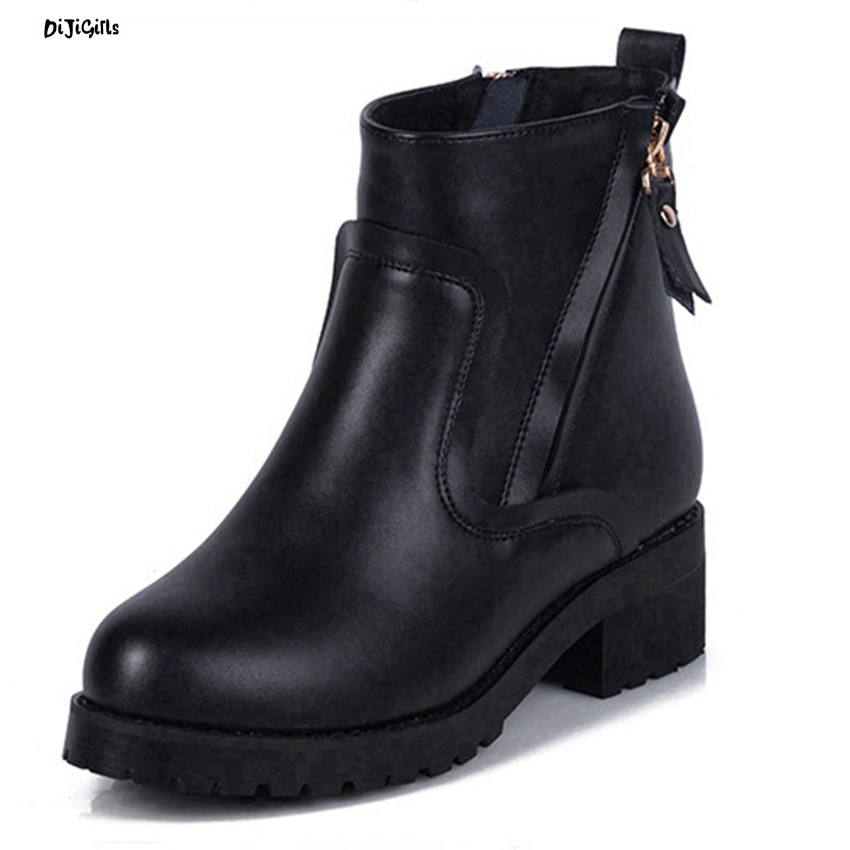 Women Fashion Thick Heel Ankle Boots Plus Size Black Party Shoes Woman Short Booties For Winter Autumn js01 bottes femmes 2017 autumn fashion martin boots leather shoes woman platform square medium heel ankle boots for women plus size