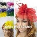 3 pçs/lote Pena e flor Fascinator Chapéu com faixa preta-casamento, senhoras dia-escolher qualquer cor