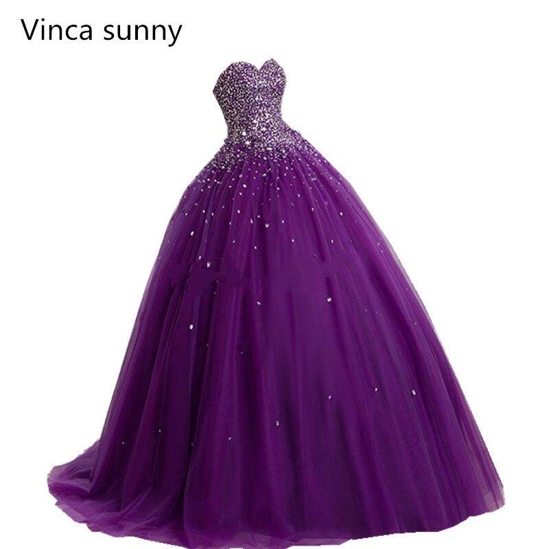 Пышное Бальное платье фиолетовое пышное платье 2019 Новое поступление бисерное кружевное платье принцессы для выпускного вечера милое 16 пла...