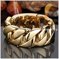 22/24cm*32mm Top Design 316L Stainless Steel Gold Plated Curb Cuban Chain Men's Bracelet Bangle,Huge Heavy Jewelry