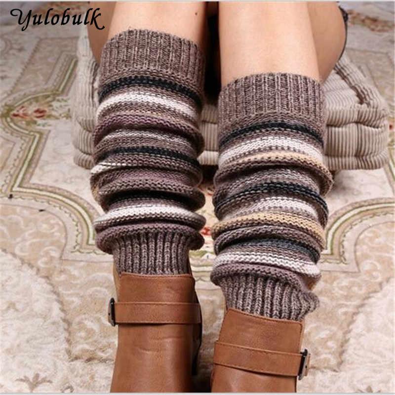 140g kadın Kalın Kış kaşmir Örme Bacak Isıtıcıları Legging bot kılıfı Moda şerit Örgü Tığ Çorapları bot paçaları