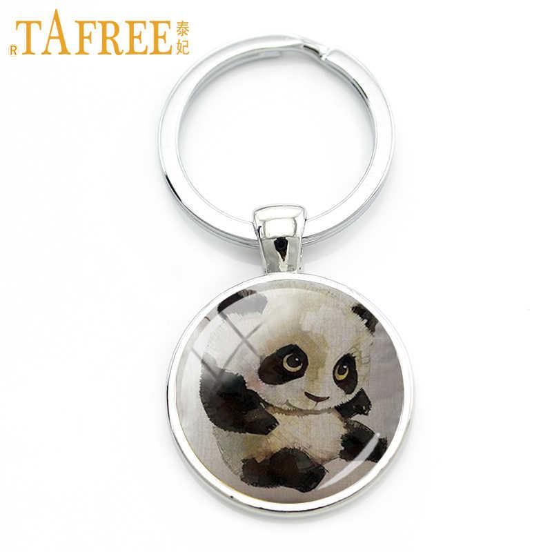 TAFREE 2017 Funny Panda brelok czarne czarne oczy czarne uszy rodzina zwierząt uczucie mama miłość dla kobiet prezent dla mężczyzny biżuteria A317