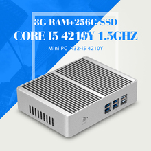 XCY Mini PC Windows 10 Intel Core i5 4210Y Fanless Thin Client 4GB 8GB RAM HTPC Barebones Business PC HDMI VGA WiFi 12V