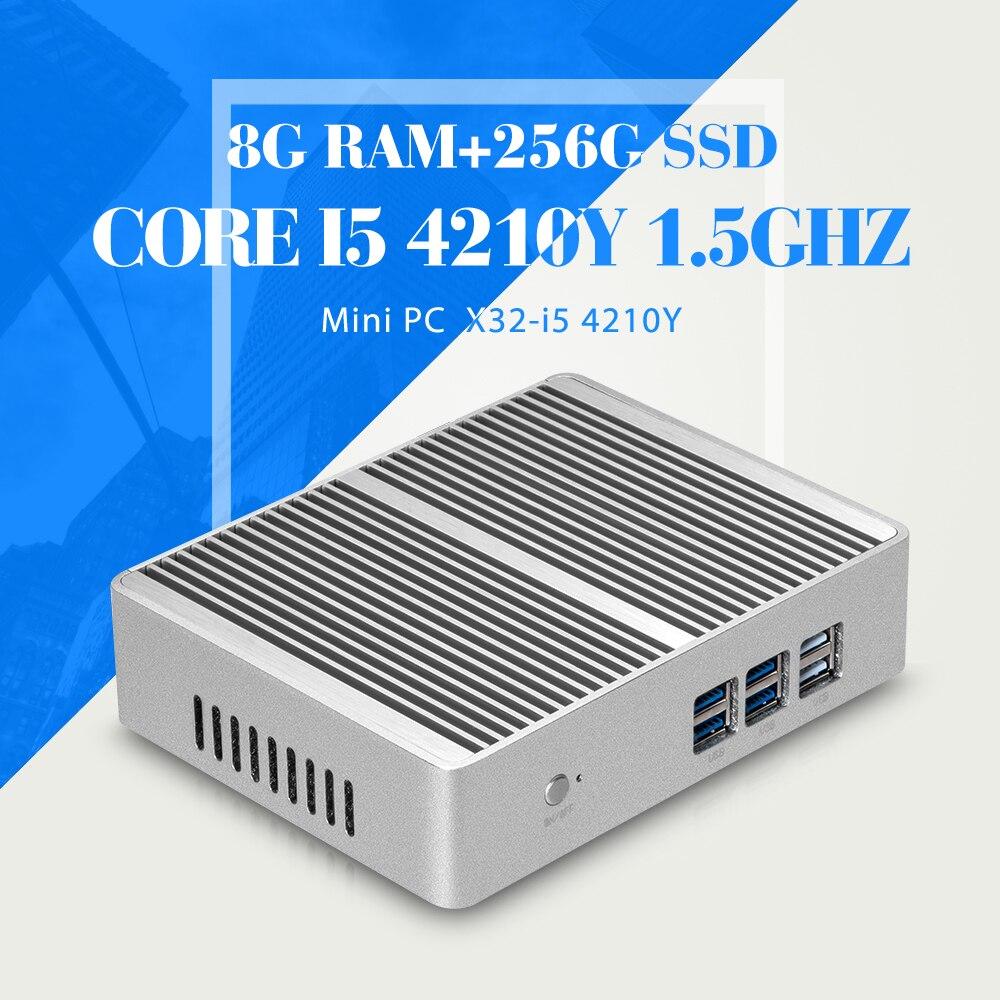 XCY Mini Computer Core I5 4210Y 8G RAM 256G SSD WIFI 6 USB RJ45 HDMI HTPC