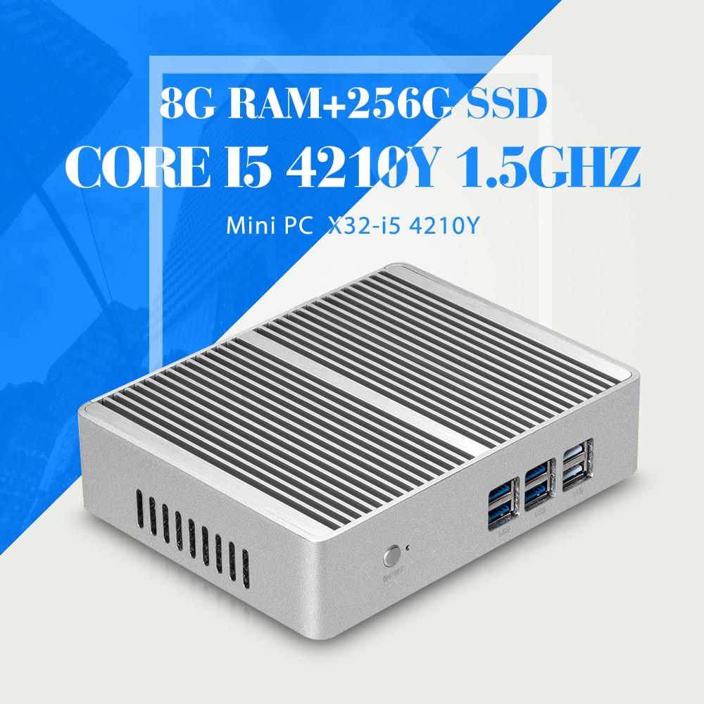 все цены на  XCY Mini PC Windows 10 Intel Core i5 4210Y Fanless Thin Client 4GB 8GB RAM HTPC Barebones Business PC HDMI VGA WiFi 12V  онлайн