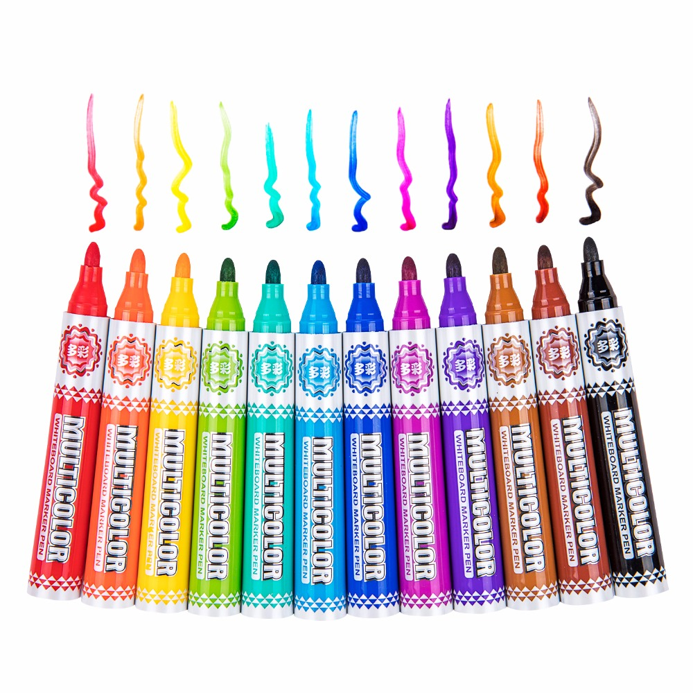 BAOKE 12Color White Board Markers for Office Alcohol Based Whiteboard Marker for Liquid Chalk Erasable School Office Art Supply