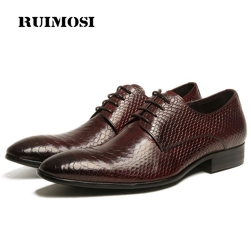 RUIMOSI Luxury Famous Man Bridal Dress Shoes Genuine Leather Crocodile Wedding Oxfords Pointed Toe Derby Formal Men's Flats BH47