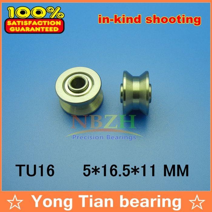 купить high quality TU16 ABEC-5 6mm V / U groove pulley bearings 5*16.5*9*11 mm Ugroove roller wheel ball bearing T-U-16 T-16 по цене 284.37 рублей
