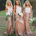 Modest Champagne Sequined Bridesmaid Skirt Women Wedding Long Mermaid Silver Skirts Cheap Long Floor-Length Bridesmaid Skirts