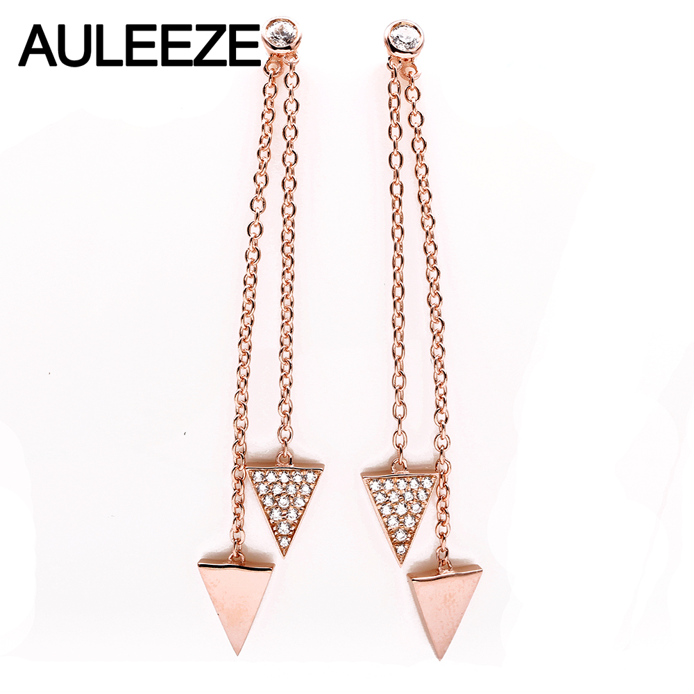 AULEEZE Unique Natural Real Diamond Triangle Drop Earrings For Women 18K AU750 Rose Gold Tassels Earrings Fine Jewelry Gifts triangle round drop earrings