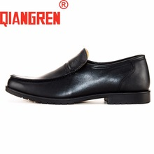 QIANGREN High-grade Quality Military Factory-direct Mens Black Dress Leather Rubber Loafers Casual Shoes Autumn Chaussures Homme