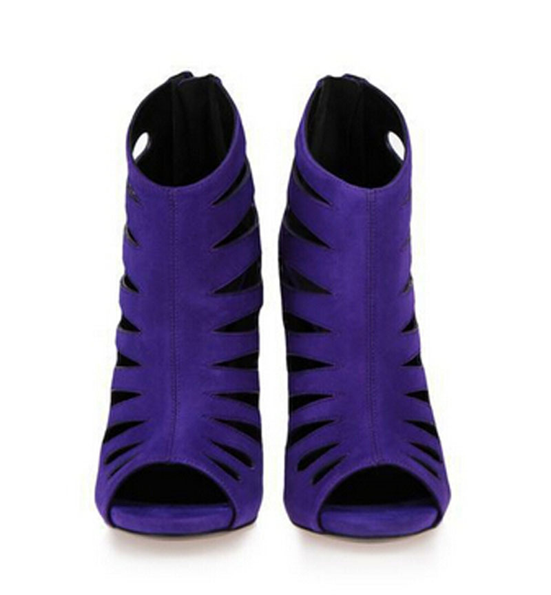 new design open toe cut-outs high heel gladiator sandals woman summer spike heel purple gladiator ankle boots