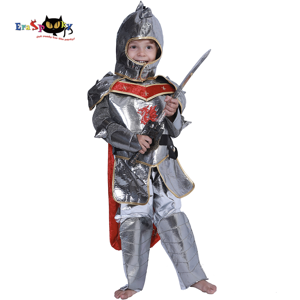 Eraspooky Halloween Party Kids Royal Warrior Knight Costumes Boys Soldier Children Medieval Roman Cosplay Carnival Fancy Dress