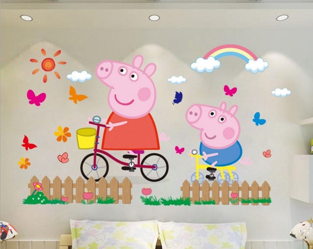 3D cartoon pink family PVC Decals Adhesive Peppa Pig Wall Stickers Mural  Home Decor kids boy. 3D cartoon pink family PVC Decals Adhesive Peppa Pig Wall Stickers