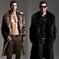 Hombres Abrigo de Piel de Invierno Abrigo de Piel Falsa Outwear En Ambos Lados hombres Punk Chaquetas Parka Larga Abrigos de Piel Genuina de Cuero Ropa de la Marca