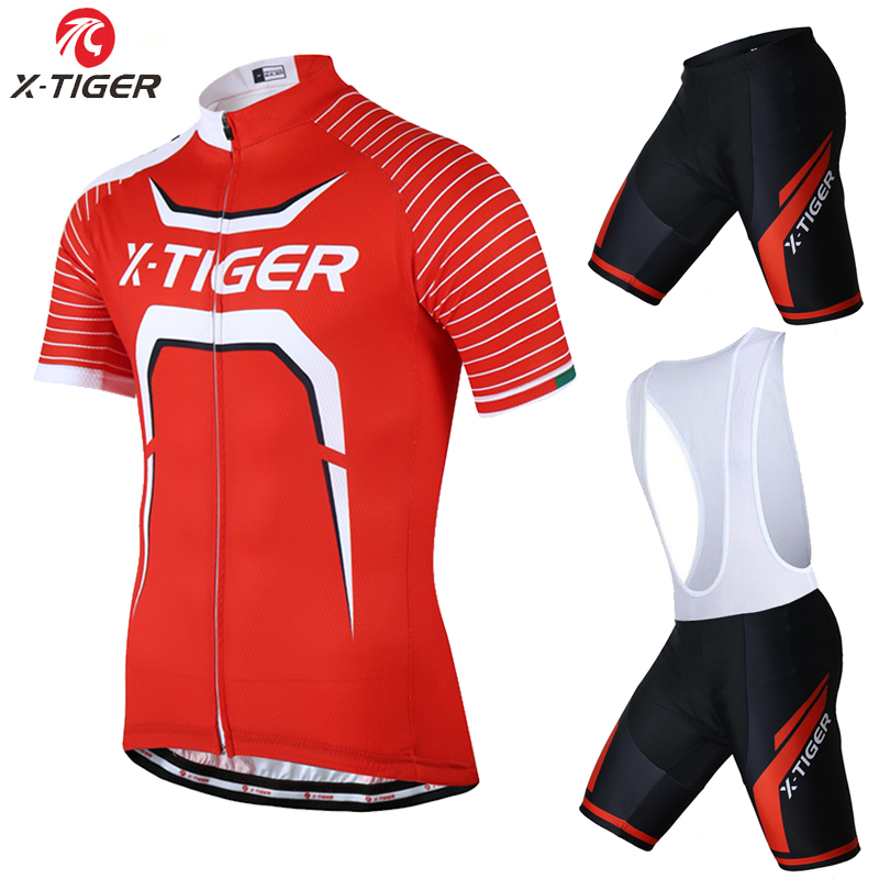 X-Tiger 100% Polyester Breathable Cycling Jersey Set Bicycle Clothing Short Sleeve Maillot Ropa Ciclismo Summer MTB Bike Clothes  2017 mavic maillot ciclismo zebra pattern men personality long sleeve cycling breathable bike bicycle clothes polyester s 6xl